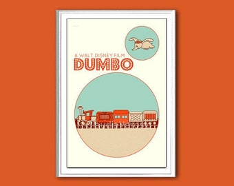 Nursery poster Dumbo retro print in various sizes