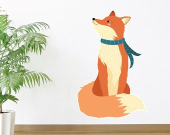 Curious Fox | Animal Nature Pets Birds Cute Watercolour Colourful Silly Kawaii Kids Bedroom Decor| Removable Vinyl Wall Sticker