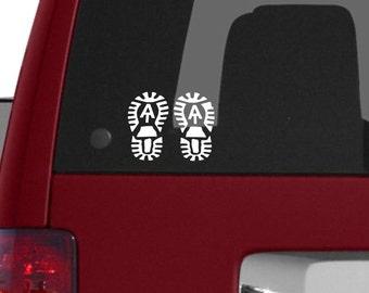 Hand Stamped Appalachian Trail Symbol Shoe Tag White Blazin