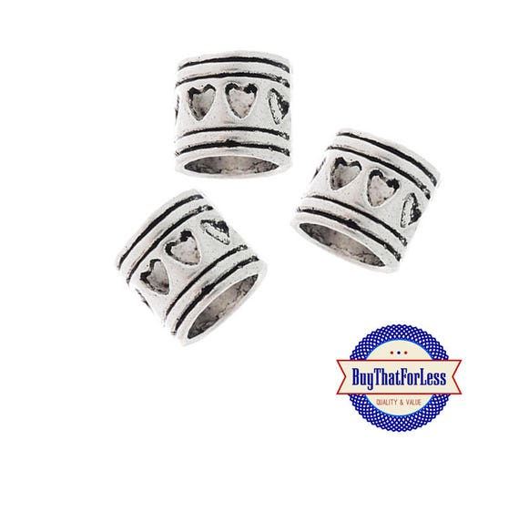 Heart Spacer BEADS, Silver Alloy, 8, 16, 24 pcs +FREE Shipping & Discounts *