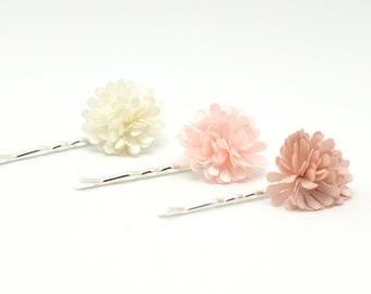 Flower Hairclip Set | Blush hairpins |Flower Bobby Pins | Organza Flower Hair Accessories | Pink Floral pins | Blush Hairclips