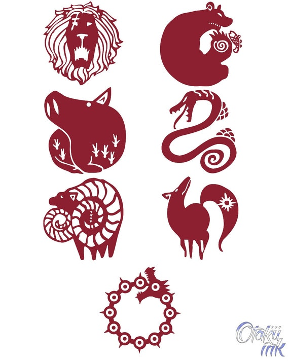 The Seven Deadly Sins Cosplay Temporary Tattoos By Otaku Ink