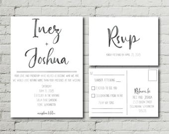Minimal Chic Wedding Invitation RSVP Postcard Watercolor Modern