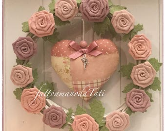 Wicker Wreath with flax roses and patchwork heart on pink tones