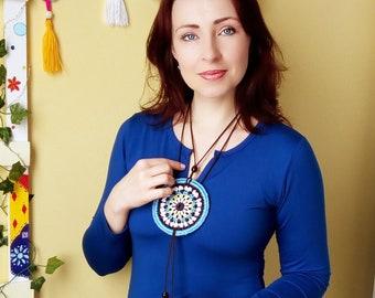 Crochet pendant / Mandala crochet pendant / Jewelry crochet / Necklace / Blue Necklace / Mascot