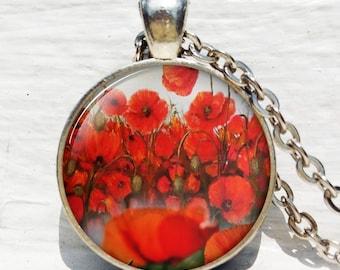 Poppy pendant, poppy necklace, poppy jewelry, remembrance pendant, poppy jewellery poppy keychain key chain key fob
