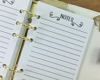 Personal Notes printed planner refill insert - lined paper - note taking - journal - Personal Wide