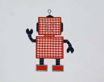 "Embroidered Iron On Applique- ""Robot 2"""