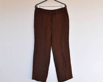 Vintage Cinnamon Brown Linen Wide Leg Preppy Boyfriend Trousers Pants