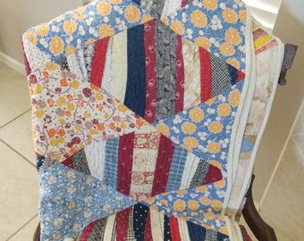 """Antique Hand Made Quilt  Very Large 80"""" x 72""""  Beautiful!!"""