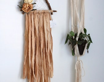 Tan Triangle Dream Catcher with Dried Flowers
