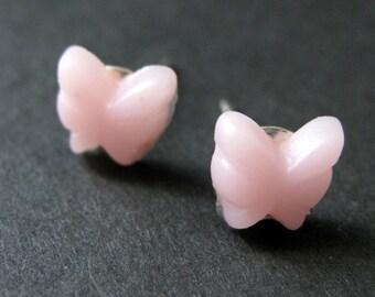 Mini Butterfly Earrings. Baby Pink Earrings. Silver Post Earrings. Baby Pink Butterfly Earrings. Stud Earrings. Handmade Jewelry.