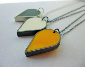 Teardrop silver and resin pendant, teardrop, resin, pendant, necklace, mustard yellow, yellow and grey, grellow, oxidised silver