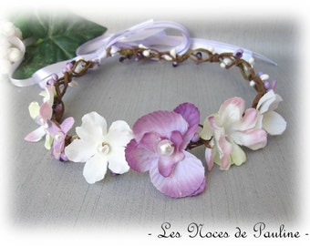 Purple and white wedding Orchid Fascinator witness bridesmaid flower Crown
