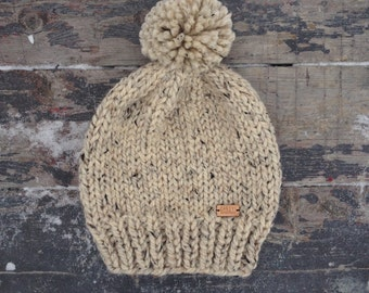The Cape North Hat - Chunky slouchy knit hat in heathered oatmeal color