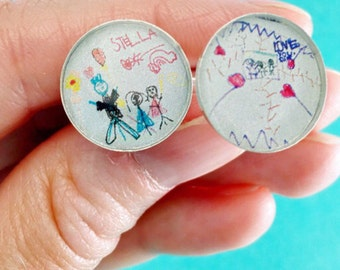 Child Art Cuff Links // Child's Artwork into Gifts //  Your Child's Drawing // Father's Day Gifts