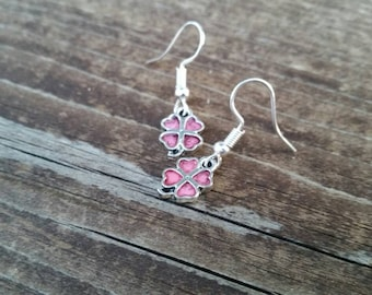Pink Four Leaf Clover Good Luck Charm Earrings - St Patrick's Day - Luck of the Irish - Fashion Jewelry Accessories
