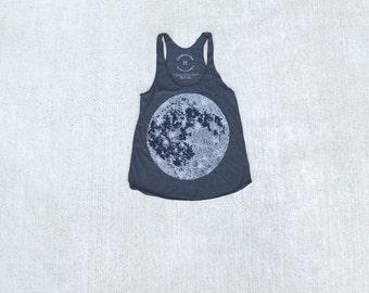 Moon Tank Top Women, Womens Top, Moon Tank, Moon Shirt, Black Racerback Tank Top, Blackbird Tees, Outdoor Gift, Womens Top, Womens Clothing