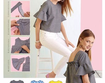 Simplicity Learn to Sew a Pullover Top Pattern, Waist Length Blouse Pattern, Easy Blouse Pattern, Simplicity Sewing Pattern 8335