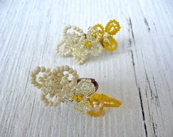 Coucous spring flowers bouquet beaded earrings