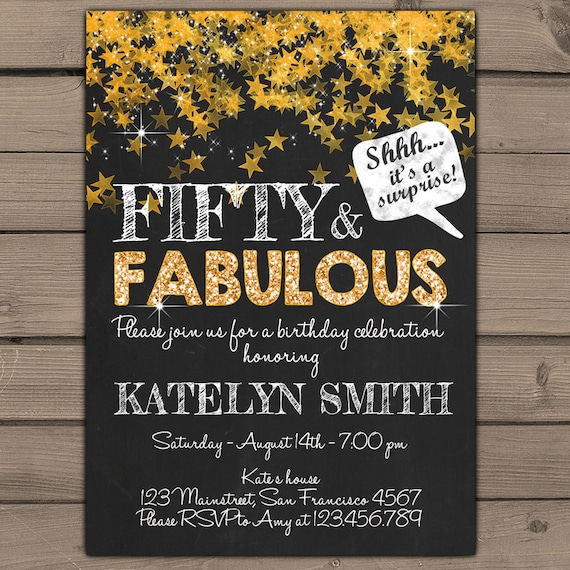 50th birthday invitation Fifty and fabulous Gold Glitter