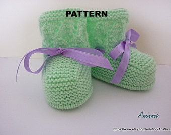 Knitting pattern.Baby booties in green.P037