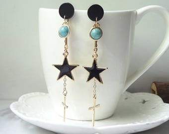 Star Earrings Dangle Chain Earrings Delicate Earrings Black Earrings Wedding Earrings 0468