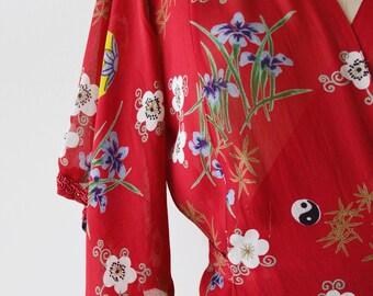 1990s vintage cherry red kimono wrap blouse