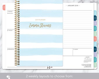 2018 planner calendar choose start month | add monthly tabs weekly student planner personalized agenda daytimer | blue watercolor stripes