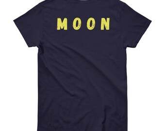 MOON (back print) Women's heavy short sleeve t-shirt