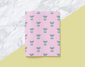 UFO Notebook: A5 spaceship sketchbook or notepad in pink pastel for sci-fi, flying saucer or X Files enthusiasts!