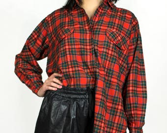 Vintage 1980s Red Plaid Flannel Wool Holiday Christmas Button Down Collared Long Sleeve Shirt Les Copains Top