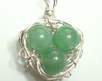 Birds Nest Charm Pendant Silver Green Quartz Handmade Wire Wrapped Pendant Necklace
