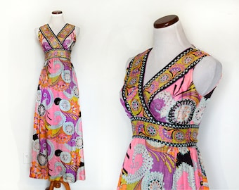 Maxi Dress / Day Dress / Pink Dress / 70s Bohemian Dress / Neon Dress / Print Dress / Women Dresses Day / Vintage Clothing Dresses