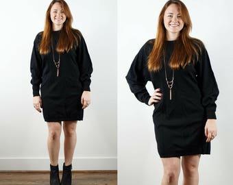 80s Black Sweater Dress / Black Wool Knit Dress / Long Sleeve Dress / Dolman Sleeve Dress / Black Tunic / Tunic Sweater / Winter Dress