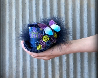 Micro Mini Top Hat, Blue and purple Butterfly Steampunk Mini Top Hat, Alice in Wonderland, Tea party Hat, Mad Tea Party Hat, Mother's day