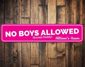 No Boys Allowed Sign, Custom Girl Room Sign, Personalized Decor for Girls Only Sign, Metal Playroom Decor - Quality Aluminum ENS1002075