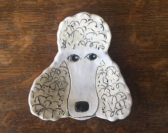 SPOON REST White POODLE Stoneware Clay Handmade