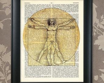 Vitruvian Man, Leonardo Da Vinci / Da Vinci Sketch, Da Vinci Print, Da Vinci Art, Dictionary page Art Print / Vintage Greek Encyclopedia