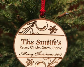Custom Family Christmas Ornament, Personalized Family Christmas Gift, Wooden Engraved Christmas Ornament
