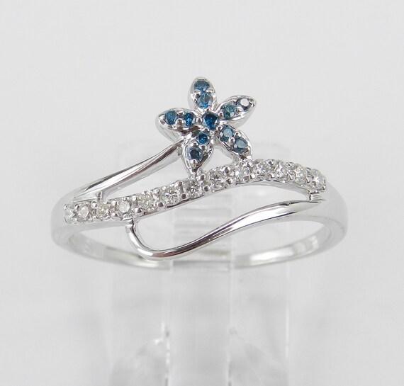 14K White Gold Blue Diamond Cluster Flower Cocktail Ring Size 8.75