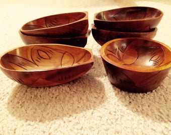Vintage Wooden Dipping Bowls Carved Wood Mid Century Dipping Sauce Dishes Picnic Ware