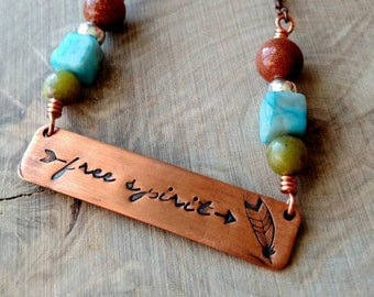 gypsy necklace, Free spirit necklace, boho necklace, free spirit jewelry, hand stamped necklace, gifts for her, copper gypsy necklace