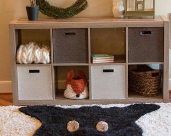 Black Bear Rug / Faux Bear Rug / woodland nursery / Baby room decor / animal playmat  /