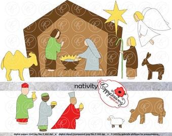 Nativity Scene Clipart: Digital Scrapbook Clipart Pack (300 dpi) Mary Jesus Joseph Manger Three Wise Men Shepherd Star Clip Art Digital