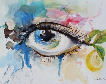 Eye - Original Art Print- From watercolor collection