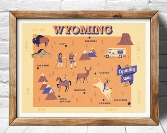Wyoming Map, The equality state map, original map, nursery map, Home State Map, Wyoming state poster, modern family map,state family map
