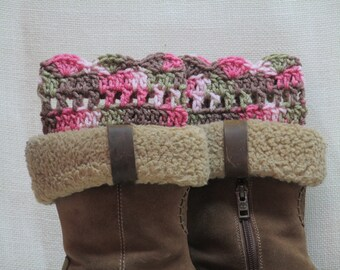 Camo Accessories, Boot Cuffs, Crochet Boot Cuffs, Gift for her, Boot Toppers, Boot Socks, Gift for Wife, pink camo, camo boot cuffs, camo