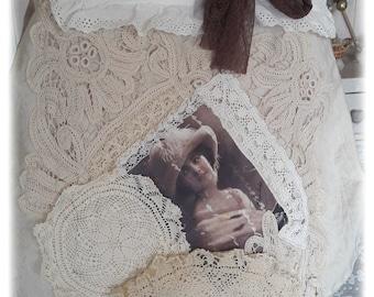 Bohemian hippie chic purse, lace vintage shabby portrait 1900, several pockets