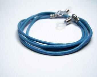 Leather Cord, Eyeglass Chain, Sky Blue Eyeglass Cord, Custom Made, 24-36 inch Length, Eyeglass Necklace Holder, By Eyewearglamour